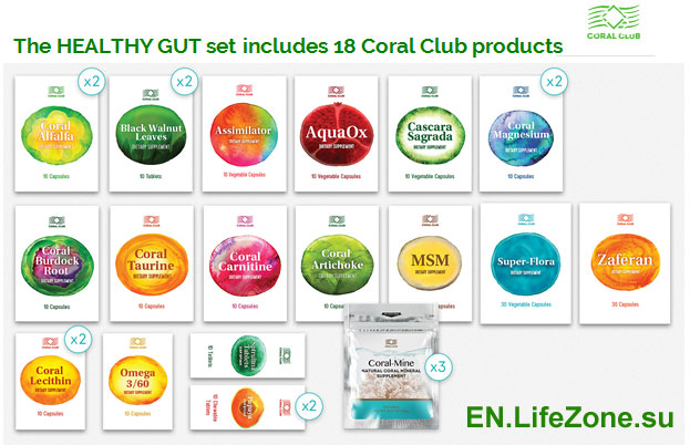 The-HEALTHY-GUT-set-includes-18-Coral-Club-products